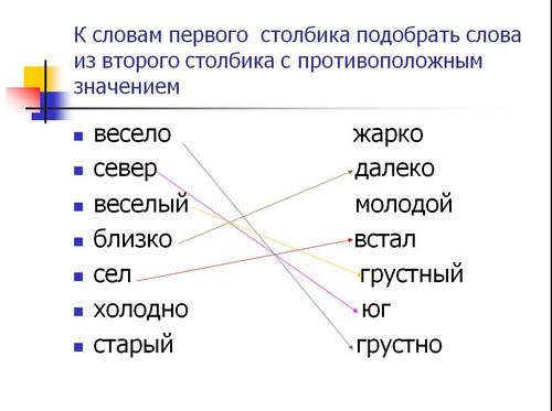 русский язык подобрать слова