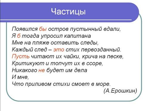 таблица по русскому частицы