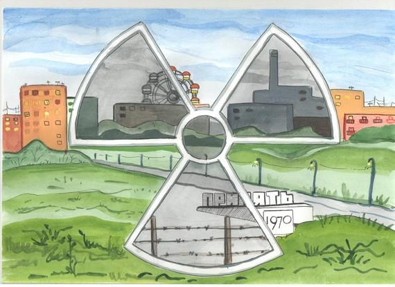аэс рисунки чернобыльская авария